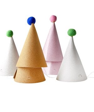 Rice 6-Pack Paper Pom Pom Party Hats One Size